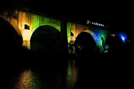 釜石線めがね橋ライトアップ
